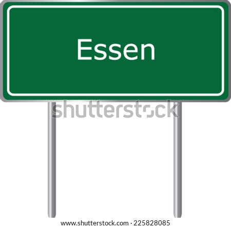 Essen, Germany, road sign green vector illustration, road table - stock vector