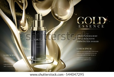 essence contained in black bottle, with golden flow background, 3d illustration