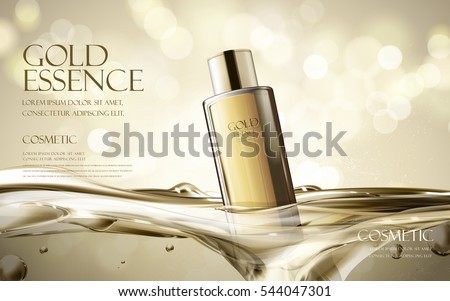 essence contained in black bottle, with transparent water background, 3d illustration