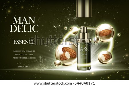 essence contained in bottle, with almond background, 3d illustration