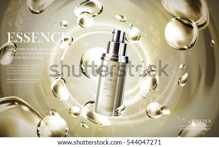 essence contained in bottle, with water drop background, 3d illustration