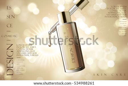 essence skin care product contained in transparent bottle, 3d illustration