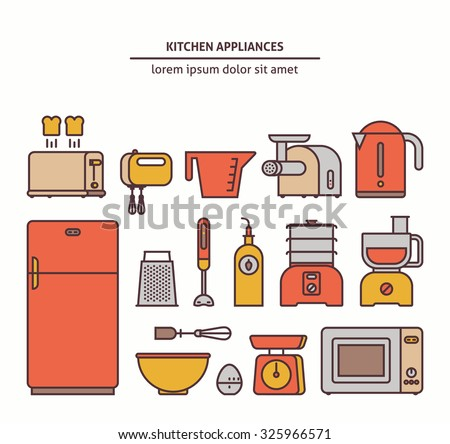 Essential kitchen appliances vesctor icons set. Trendy linear style - stock vector