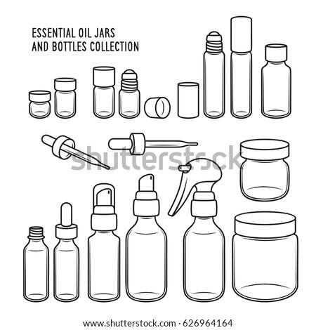 Essential Oil Jars Bottles Design Set 626964164