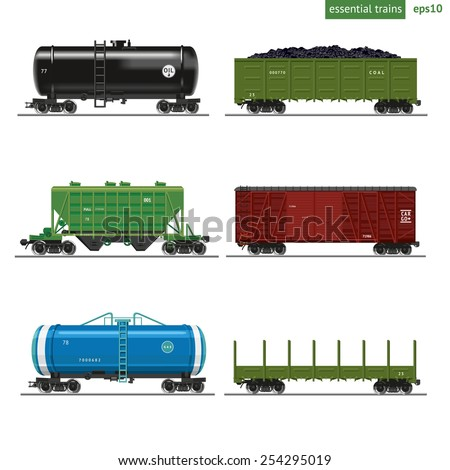 Essential Trains.Collection of freight railway cars. Isolated on white.