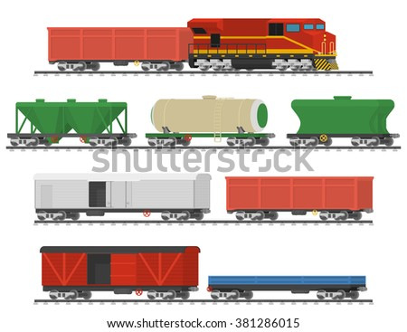 Essential Trains. Collection of freight railway cars. Isolated on white background. Vector illustration - stock vector