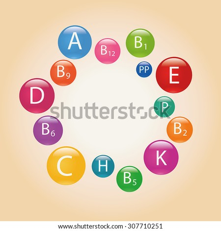 Essential vitamins necessary for human health. Colorful illustration. - stock vector