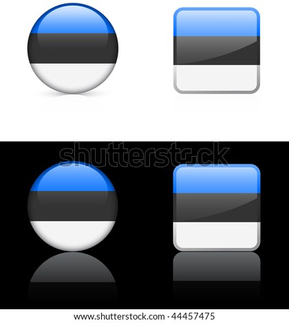estonia Flag Buttons on White and Black Background Original Vector Illustration - stock vector