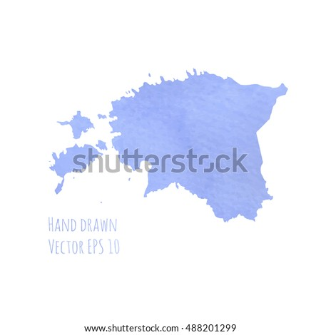 Estonia map. Blue watercolor hand drawn. EPS 10.