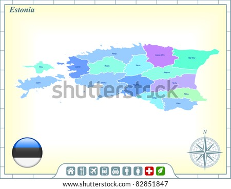Estonia Map with Flag Buttons and Assistance & Activates Icons Original Illustration