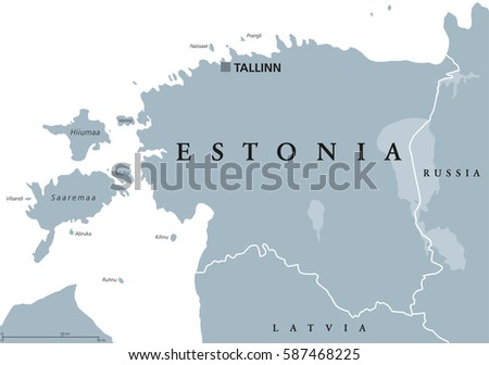 Estonia Political Map With Capital Tallinn National Borders And Neighbor Countries Republic In Northern