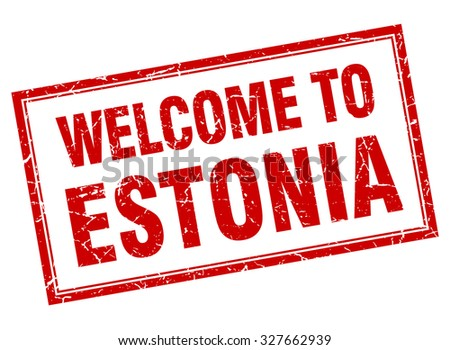 Estonia red square grunge welcome isolated stamp