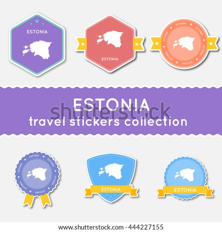 Michigan Travel Stickers Collection Big Set Stock Vector - Estonia from the us map