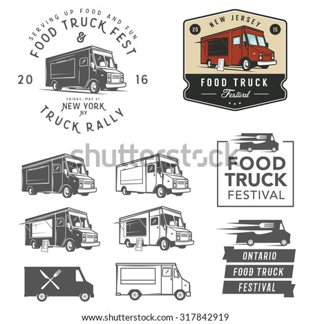 et of food truck festival emblems, badges and design elements - stock vector