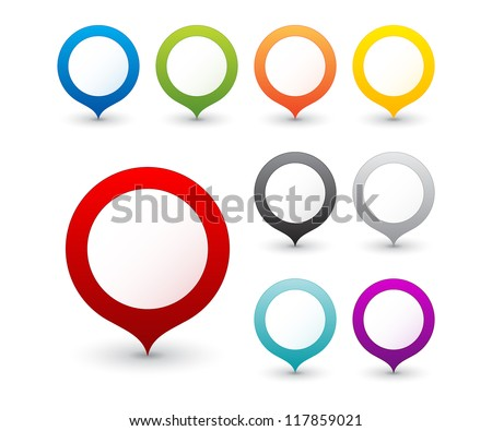 et of round 3D map pointers - stock vector