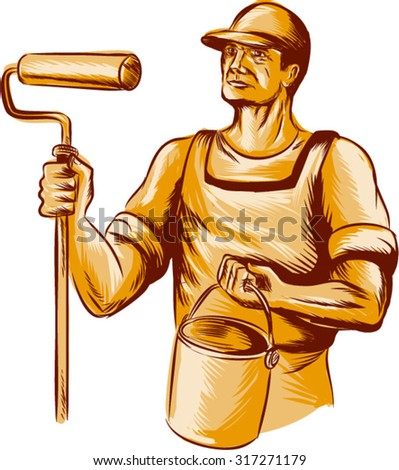 Etching engraving handmade style illustration of a house painter holding paint roller  and paint bucket can looking to the side viewed from front set on isolated white background.  - stock vector