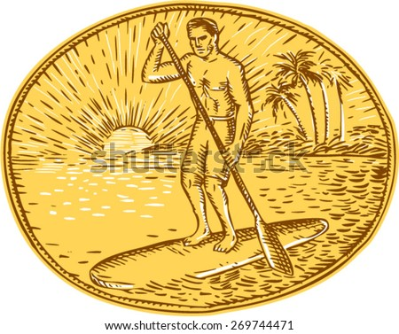 Etching engraving handmade style illustration of a man with paddle stand up paddling boarding surfing set on inside oval with sun tropical beach palm coconut trees sunburst in the background - stock vector
