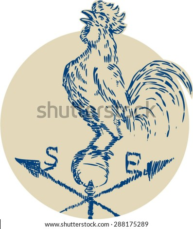 Etching engraving handmade style illustration of a rooster cockerel crowing standing on top of weather vane viewed from the side set inside circle on isolated background. - stock vector