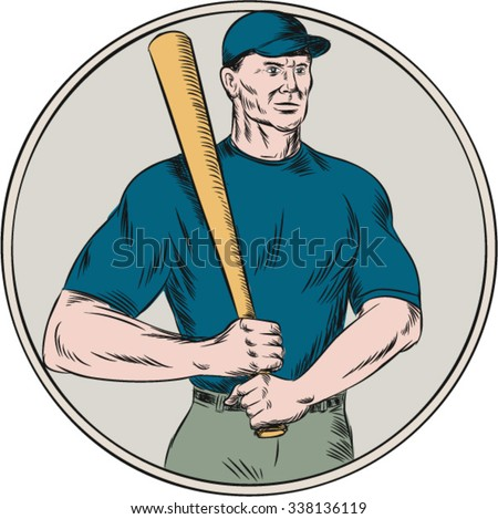 Etching engraving handmade style illustration of an american baseball player batter holding bat resting on shoulder viewed from front set on isolated white background.  - stock vector