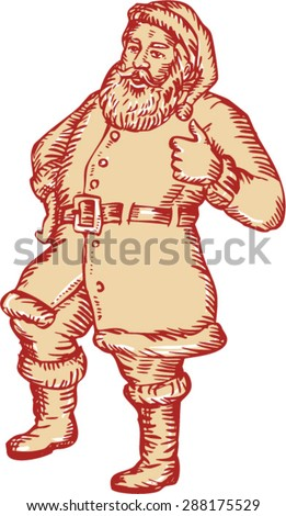 Etching engraving handmade style llustration of santa claus saint nicholas father christmas standing thumbs up on isolated white background.  - stock vector