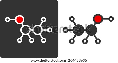 Ethanol (alcohol) molecule, flat icon style. Used in alcoholic beverages, as biofuel, solvent, disinfectant, etc. Atoms shown as color-coded circles (oxygen - red, carbon - grey, etc) - stock vector