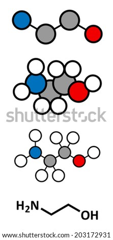 Ethanolamine (2-aminoethanol) molecule. Stylized 2D renderings and conventional skeletal formula. - stock vector