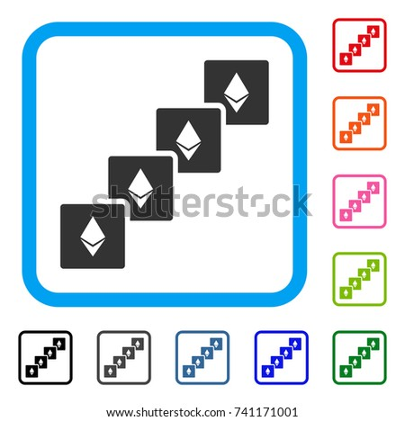 Ethereum Blockchain Icon Flat Gray Pictogram Symbol Inside A Light Blue Rounded Frame Black