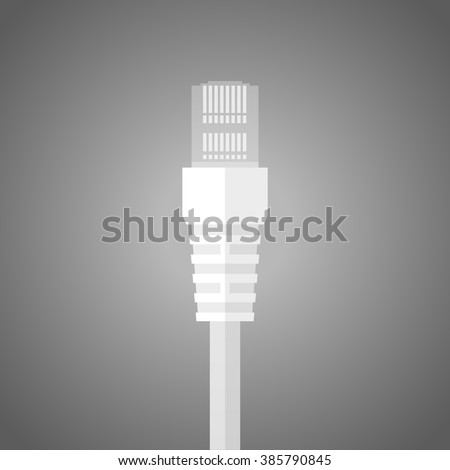 Ethernet network cable. Plug wire cable computer. LAN wire cable computer Icon. Connector wire patch cord. Network connection. - stock vector