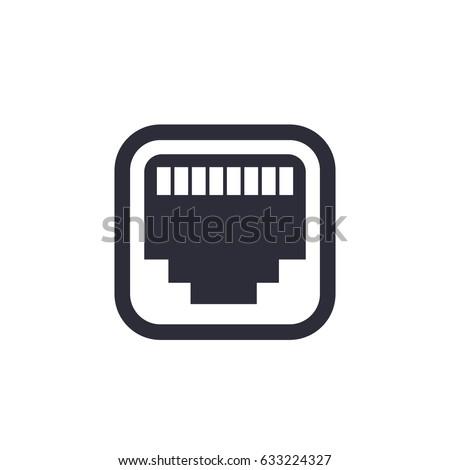 Ethernet Network Port Icon Stockvector 633224327 Shutterstock