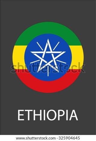 Ethiopia circle flag - vector icon - stock vector