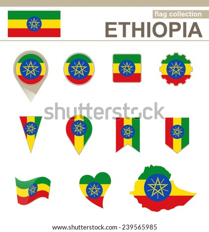 Ethiopia Flag Collection, 12 versions - stock vector