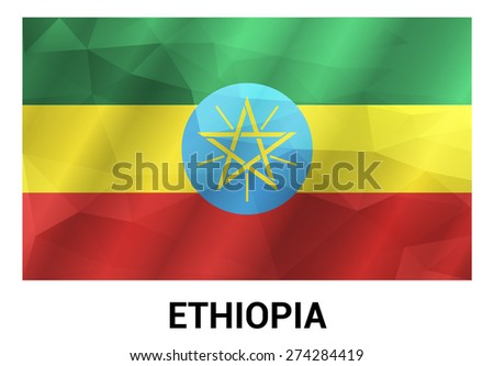 Ethiopia Flag, geometric polygonal shapes. Vector illustration.