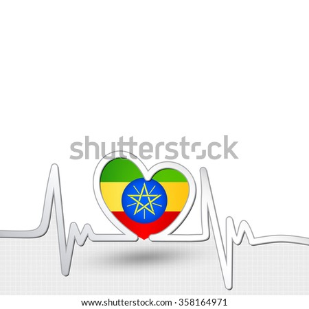 Ethiopia flag heart and heartbeat line.Patriotic vector background. - stock vector