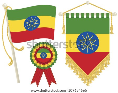 ethiopia flag, rosette and pennant, isolated on white - stock vector