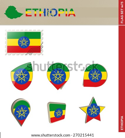 Ethiopia Flag Set, Flag Set #75. Vector.