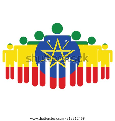 Ethiopia flag with business people and social community symbol isolated on white