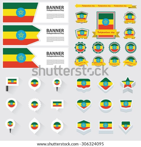 ethiopia independence day, infographic, and label Set.