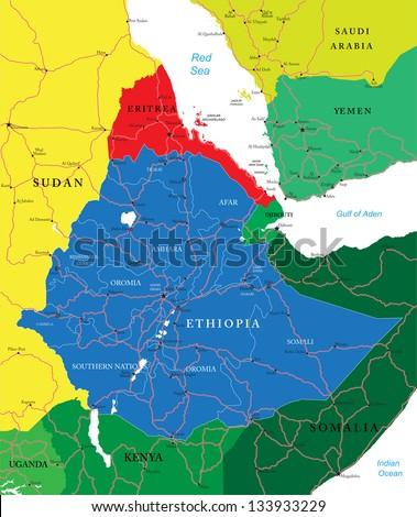 Ethiopia map - stock vector