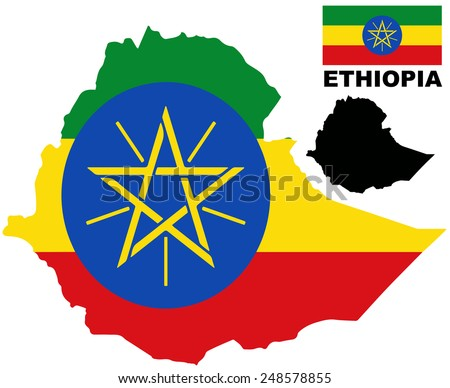 Ethiopia - Map and flag vector - stock vector