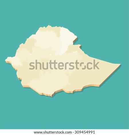 Ethiopia Map Three Dimensional - stock vector
