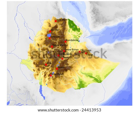 Ethiopia. Physical vector map, colored according to elevation, with rivers and selected cities. Surrounding territory greyed out. 64 named layers, fully editable. Data source: NASA - stock vector