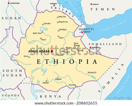 Ethiopia Political Map - Political map of Ethiopia with capital Addis Ababa, national borders, most important cities, rivers and lakes. Vector illustration with English labeling and scaling. - stock vector