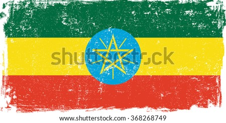 Ethiopia vector grunge flag isolated on white background.
