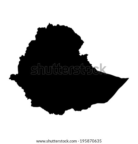 Ethiopia vector map high detailed silhouette illustration isolated on white background. - stock vector