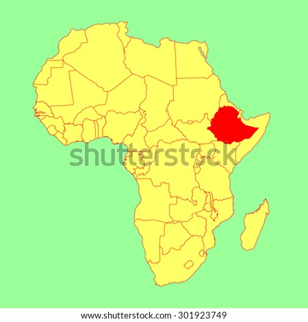 Ethiopia vector map isolated on Africa map. Editable vector map of Africa. - stock vector