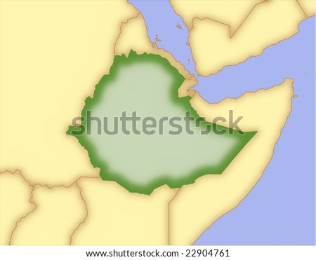 Ethiopia, vector map, with borders of surrounding countries. 5 named layers, fully editable. - stock vector
