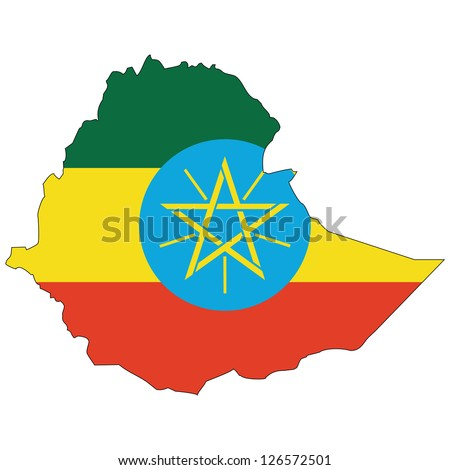 Ethiopia vector map with the flag inside. - stock vector