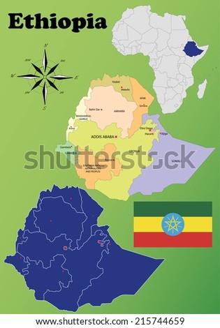 Ethiopia vector set. Isolated - stock vector