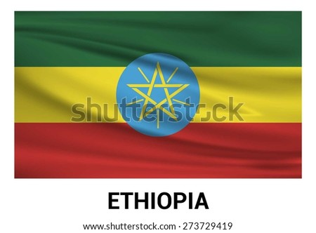 Ethiopia Waving flag isolated vector in official colors and Proportion Correctly. waving wind Flag realistic fabric effect. country's name label in bottom