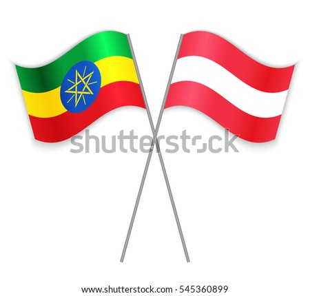 Ethiopian and Austrian crossed flags. Ethiopia combined with Austria isolated on white. Language learning, international business or travel concept.